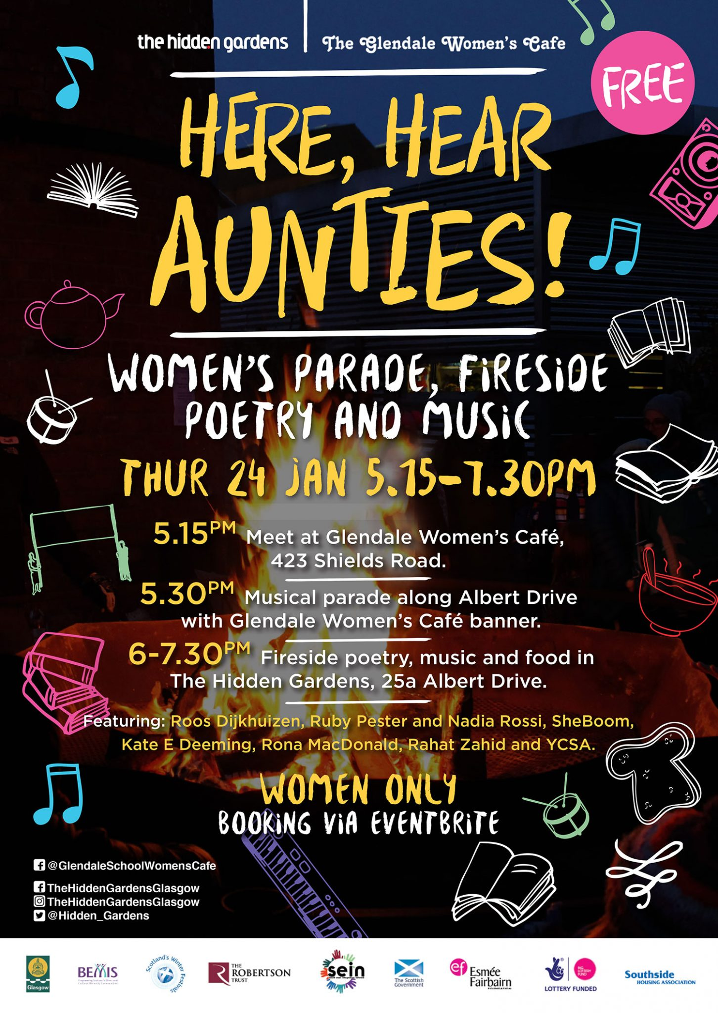 Here, hear Aunties! woman's parade, fireside poetry and music, thurs 24 January 2019